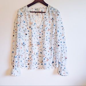 JOiE White Floral Print Button Up Blouse NWT